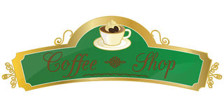Muestra de la tienda de Coffe Imagen de archivo libre de regalías