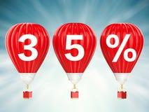 muestra de la venta del 35% en los balones de aire candentes Fotografía de archivo