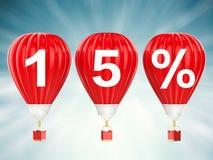 muestra de la venta del 15% en los globos del aire caliente Imagenes de archivo