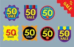 muestra de la venta del 50% Etiqueta del símbolo del descuento Compras Vector de las insignias de la calidad y de la satisfacción imagenes de archivo