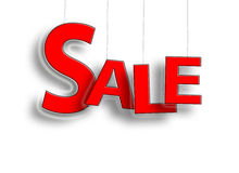 Muestra de la venta que cuelga en rojo Fotografía de archivo