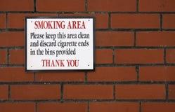 Muestra de la zona de fumadores Foto de archivo libre de regalías