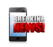 Muestra de las noticias de última hora en un smartphone. ejemplo Foto de archivo libre de regalías