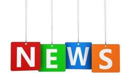 Muestra de las noticias en etiquetas coloridas Imagen de archivo libre de regalías