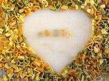 Muestra de las pastas de la forma del corazón Foto de archivo