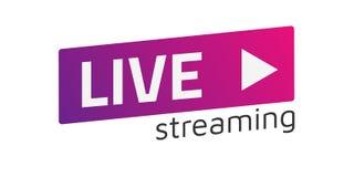 Muestra de Live Stream del vector, emblema, logotipo Pendiente del color Compañero plano ilustración del vector