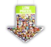 Muestra de los precios bajos del supermercado Fotografía de archivo