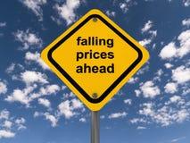 Muestra de los precios en baja a continuación Fotos de archivo libres de regalías