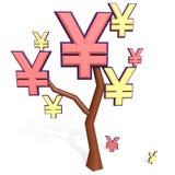 Muestra de los yenes y del yuan en un árbol Imágenes de archivo libres de regalías