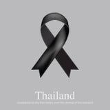 Muestra de luto de la cinta negra para las noticias tristes de Tailandia Imagen de archivo libre de regalías