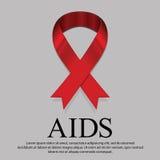 Muestra de luto de la cinta roja para el Día Mundial del Sida el 1 de diciembre cada Foto de archivo libre de regalías