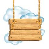 Muestra de madera colgante con las cuerdas y las nubes stock de ilustración