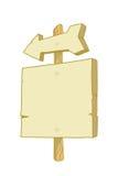 Muestra de madera con una flecha Imagen de archivo