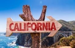 Muestra de madera de California con Big Sur en fondo Imagen de archivo libre de regalías