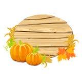 Muestra de madera de la acción de gracias feliz con la cosecha Fotografía de archivo libre de regalías