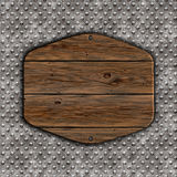 muestra de madera del grunge 3D en un fondo del metal Imagenes de archivo