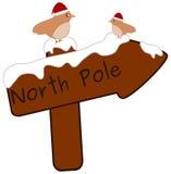Muestra de madera del Polo Norte de la historieta con los pequeños pájaros lindos con el ejemplo del sombrero de santa Imagen de archivo libre de regalías