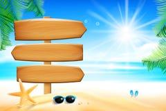 Muestra de madera en blanco con la arena de hoja de palma de la flor de estrellas de mar con los copys stock de ilustración