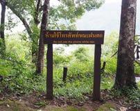 Muestra de madera en el parque nacional en la advertencia de Tailandia de utilizar p móvil Fotografía de archivo libre de regalías