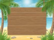 Muestra de madera en la playa tropical con la palmera Fotografía de archivo