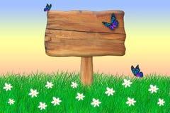 Muestra de madera rodeada por las mariposas foto de archivo libre de regalías