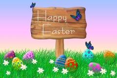 Muestra de madera rodeada por los huevos de Pascua fotos de archivo