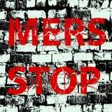 Muestra de Mers Corona Virus de la parada de la pared de ladrillo del fondo Illus del vector stock de ilustración