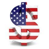 Muestra de moneda del dólar y bandera de los E.E.U.U. Imagen de archivo libre de regalías