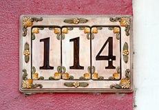 Muestra de número de casa Foto de archivo libre de regalías