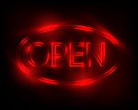 Muestra de neón abierta Fotos de archivo