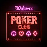 Muestra de neón Club del póker ilustración del vector