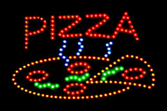 Muestra de neón de la pizza Foto de archivo libre de regalías