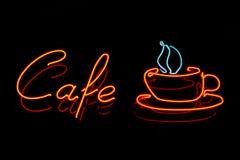 Muestra de neón del café Foto de archivo