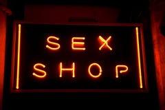 Muestra de neón del departamento del sexo Fotos de archivo
