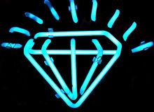Muestra de neón del diamante de la vendimia Fotografía de archivo
