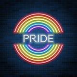 Muestra de neón del orgullo de LGBT, arco iris que brilla intensamente, celebración gay del amor, vec libre illustration