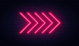 Muestra de neón de la flecha Indicador de flecha de neón que brilla intensamente en fondo de la pared de ladrillo Letrero retro c ilustración del vector