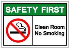 Muestra de no fumadores del símbolo del sitio limpio de la seguridad primero, ejemplo del vector, aislante en la etiqueta blanca  ilustración del vector