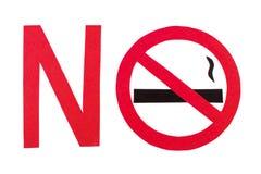 Muestra de no fumadores roja, reserva del tabaco de la parada su vida Fotos de archivo libres de regalías