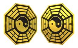 Muestra de oro del símbolo de Bagua Yin Yang ilustración del vector
