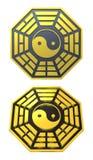 Muestra de oro del símbolo de Bagua Yin Yang stock de ilustración