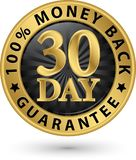 30 - muestra de oro 100%, illustratio de la garantía del reembolso del dinero del día del vector Foto de archivo libre de regalías
