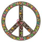 Muestra de paz, corazón y crecimiento de flores fuera de los armas Imagenes de archivo