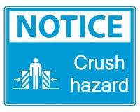 muestra de peligro del agolpamiento del aviso del símbolo en el fondo blanco libre illustration