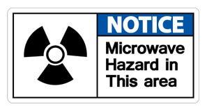 Muestra de peligro de la microonda del aviso en el fondo blanco, ejemplo del vector stock de ilustración