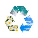 Muestra de reciclaje conceptual con imágenes de la naturaleza Fotografía de archivo libre de regalías