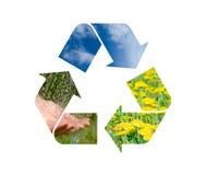 Muestra de reciclaje conceptual con imágenes de la naturaleza Foto de archivo