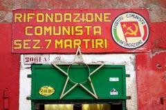Muestra de Rifondazione Comunista Imágenes de archivo libres de regalías