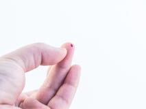 Muestra de sangre de la yema del dedo Imagen de archivo
