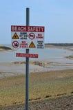 Muestra de seguridad de la playa Imagenes de archivo